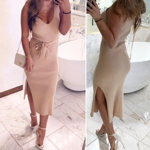Tan knit midi dress